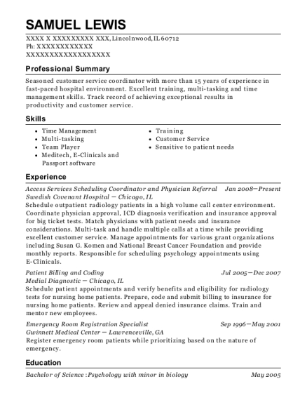 Access Services Scheduling Coordinator and Physician Referral resume template Illinois