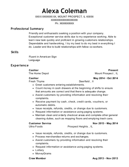 Cashier resume example Illinois