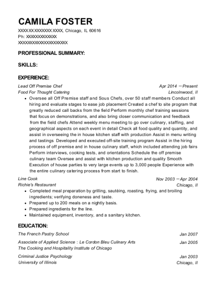Lead Off Premise Chef resume example Illinois