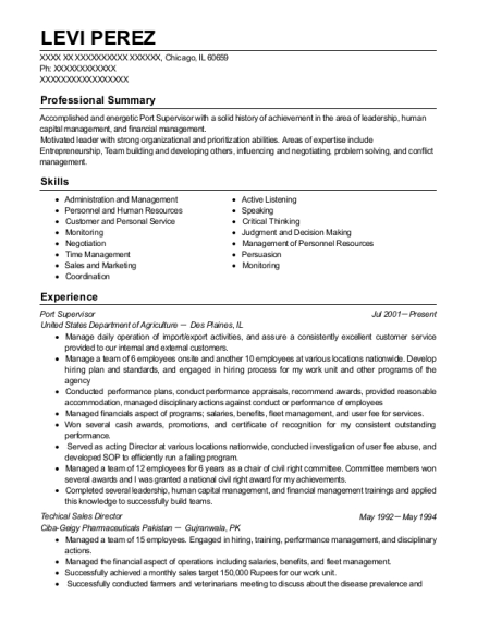 Port Supervisor resume example Illinois