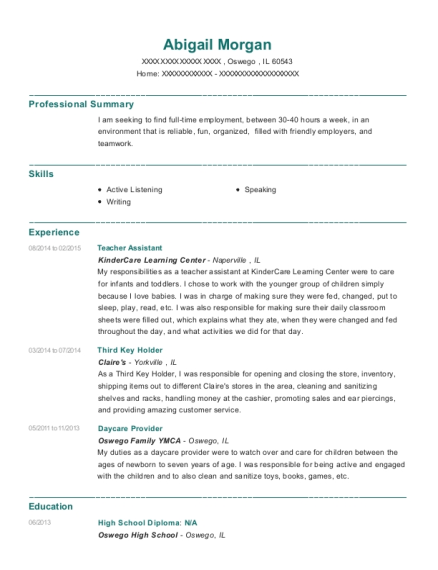 Teacher Assistant resume format Illinois