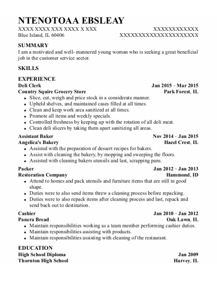 Deli Clerk resume format Illinois