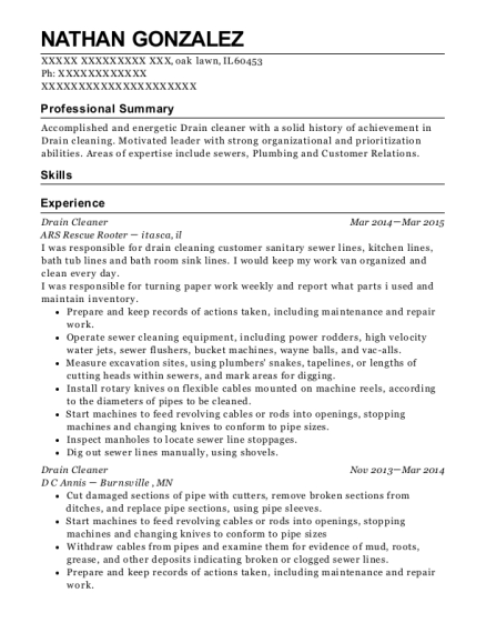 Drain Cleaner resume example Illinois