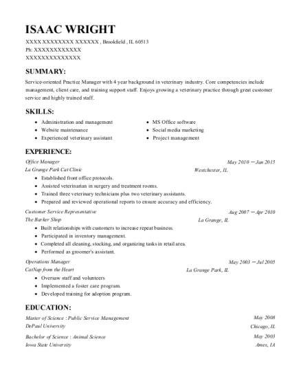 Office Manager resume sample Illinois
