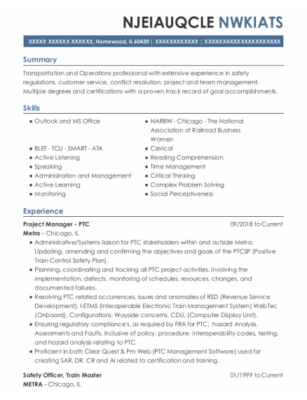 Safety Officer resume template Illinois