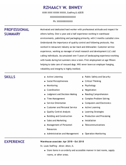 Warehouse Associate resume template Illinois
