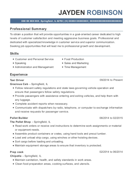 Taxi Driver resume sample Illinois