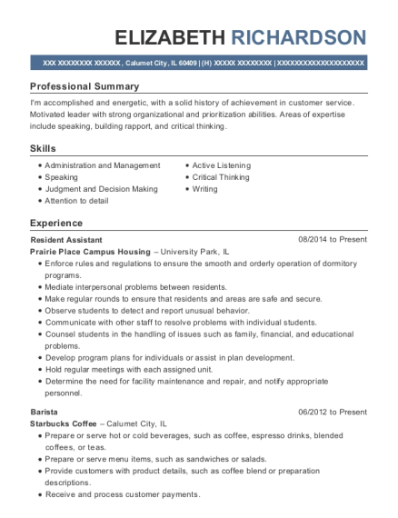 Resident Assistant resume sample Illinois