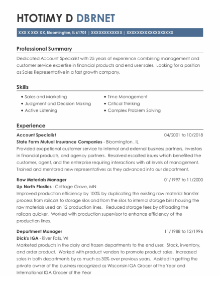 Account Specialist resume template Illinois