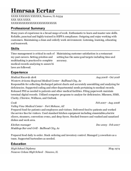 Medical Records Clerk resume sample Illinois