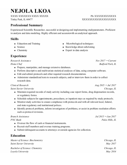 Clinical Research Assistant resume sample Illinois