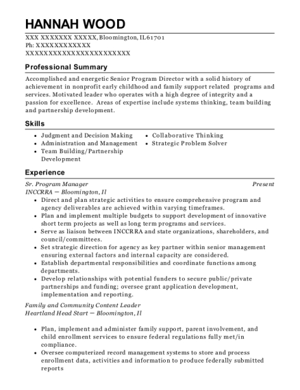 Sr Program Manager resume format Illinois