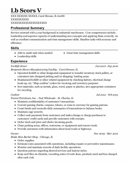 Forklift Driver resume example Illinois