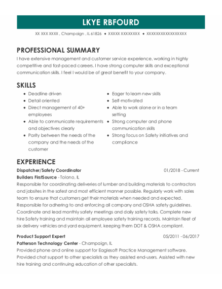 Dispatcher resume sample Illinois