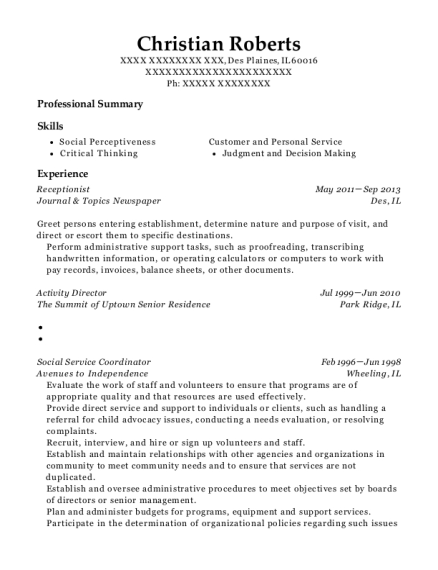 Receptionist resume format Illinois