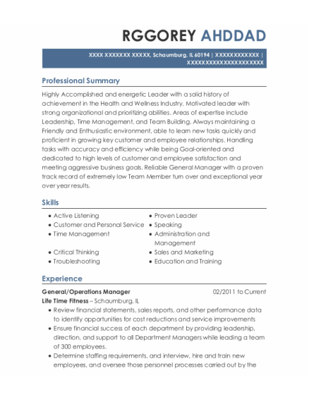 General resume format Illinois