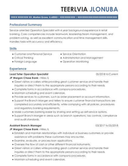 Salad Bar Clerk resume example Illinois