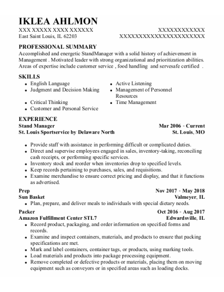 Prep resume example Illinois