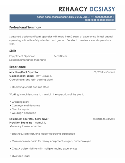 Machine resume sample Illinois