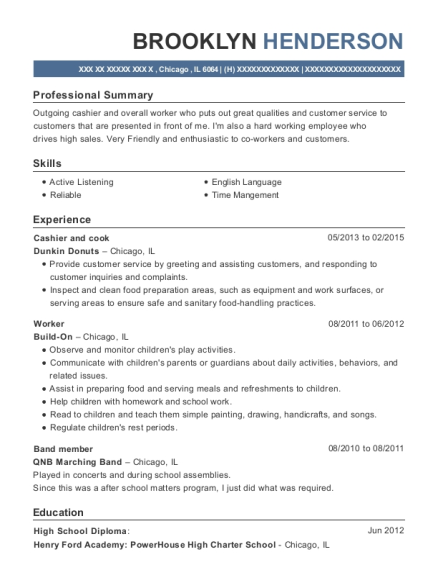 Cashier and cook resume example Illinois