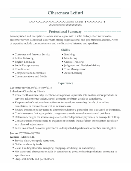 customer service resume sample Illinois