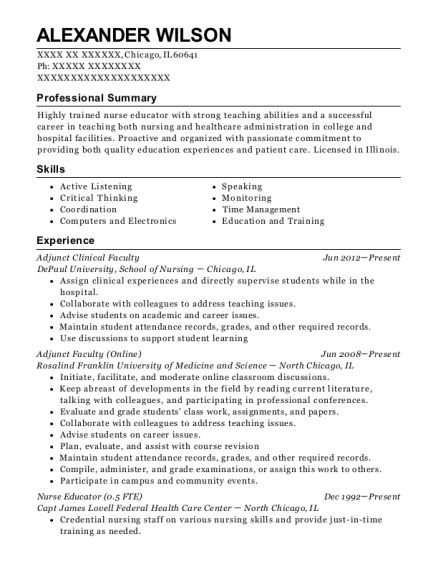 Adjunct Clinical Faculty resume sample Illinois