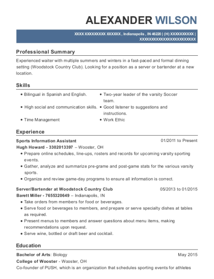 Sports Information Assistant resume template Indiana