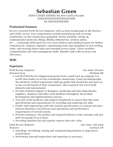 Field Service Engineer resume sample Indiana