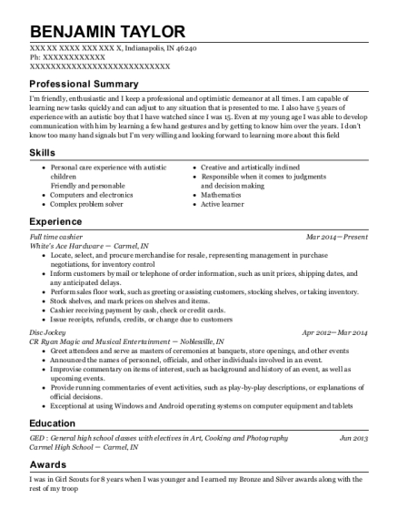 Full time cashier resume example Indiana