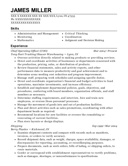 Chief Operating Officer resume example Indiana