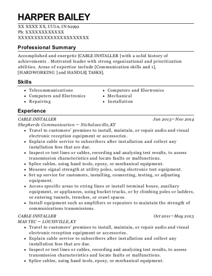 Cable Installer resume template Indiana