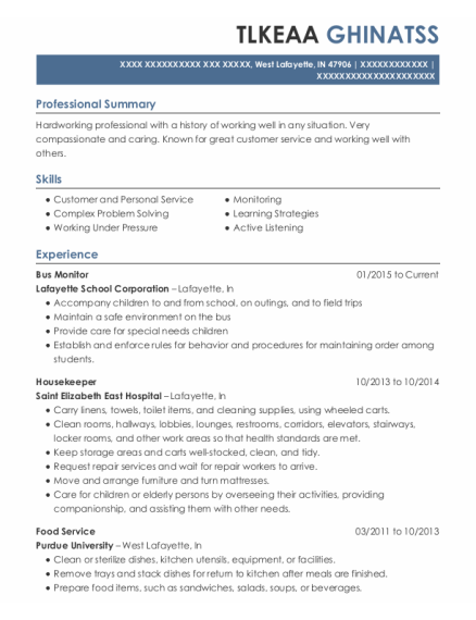 Bus Monitor resume example Indiana