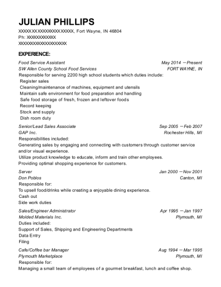 Food Service Assistant resume sample Indiana