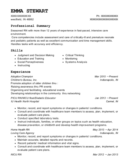 Adoption Champion resume sample Indiana