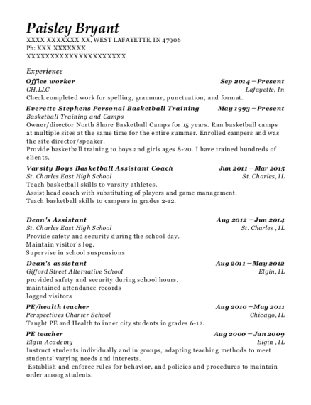 Office worker resume sample Indiana