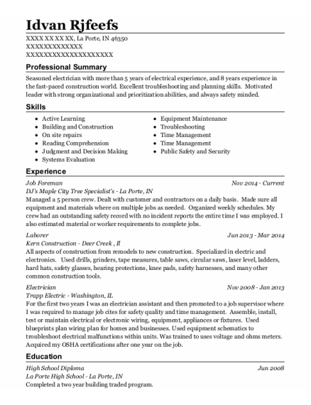 Job Foreman resume example Indiana
