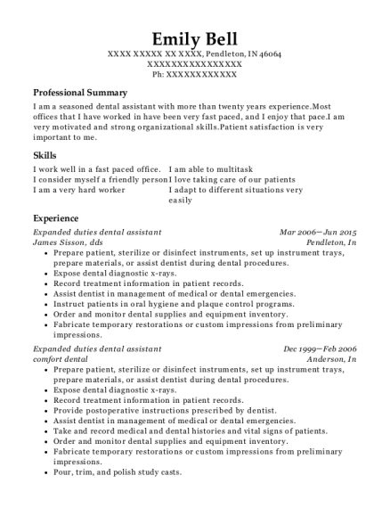 Expanded duties dental assistant resume example Indiana