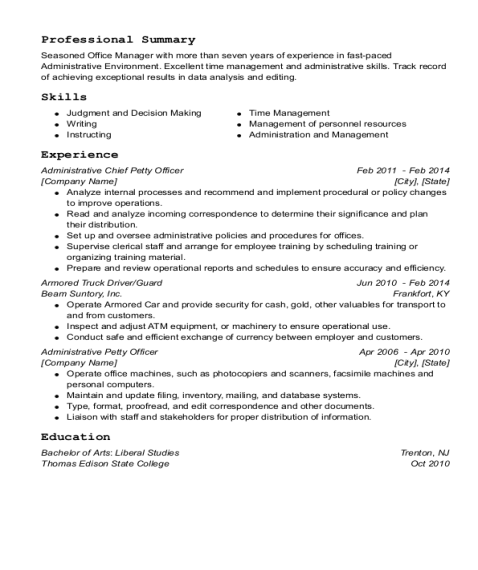 Administrative Chief Petty Officer resume sample Indiana