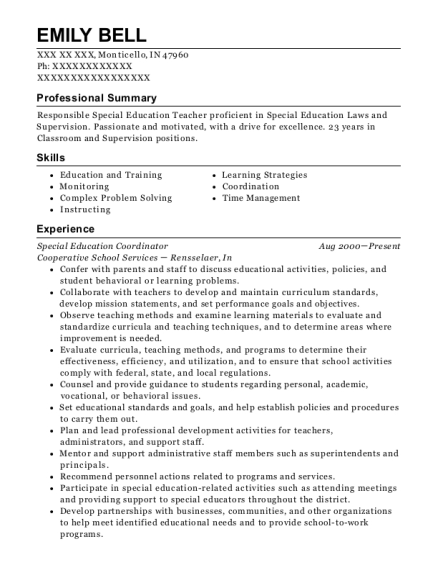 Special Education Coordinator resume template Indiana