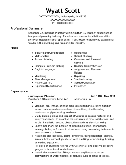 Journeyman Plumber resume template Indiana