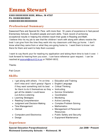 Special Education Paraprofessional resume example Indiana