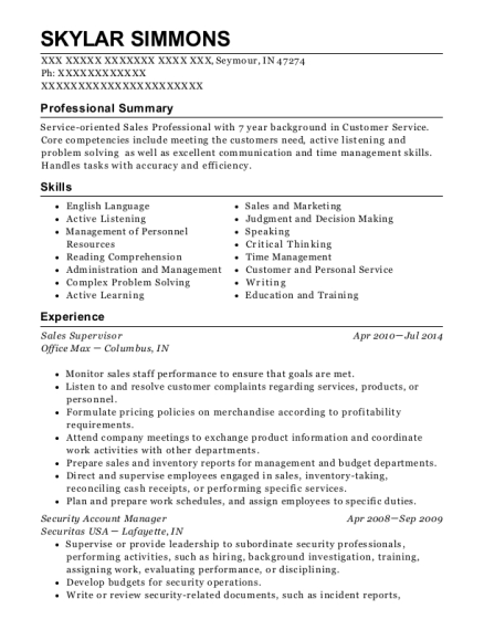 Sales Supervisor resume sample Indiana
