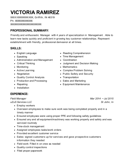 Field Manager resume template Indiana