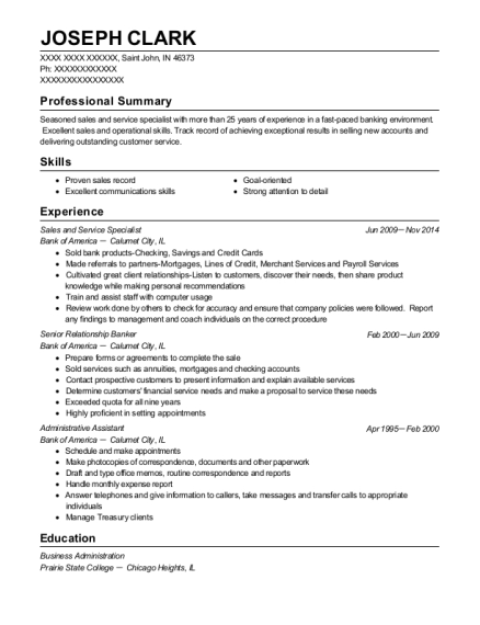 Sales and Service Specialist resume format Indiana
