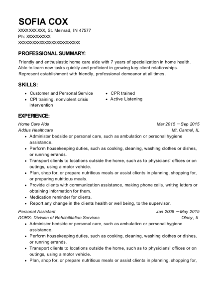 Home Care Aide resume template Indiana