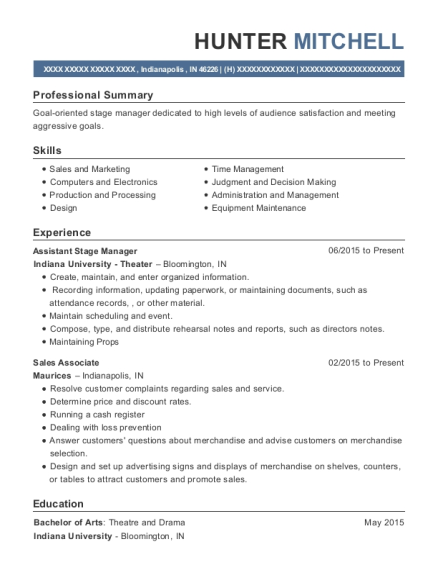Assistant Stage Manager resume template Indiana