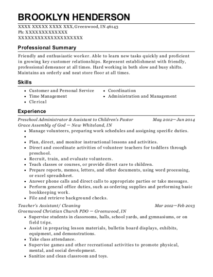 Preschool Administrator & Assistant to Childrens Pastor resume sample Indiana