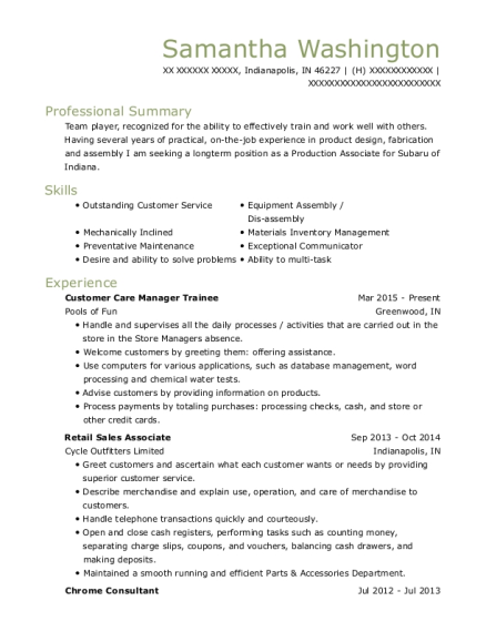 Customer Care Manager Trainee resume example Indiana