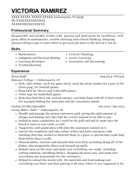 Event Staff resume format Indiana