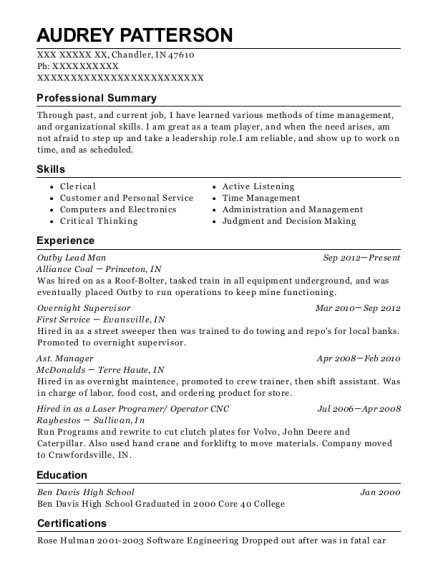 Outby Lead Man resume template Indiana
